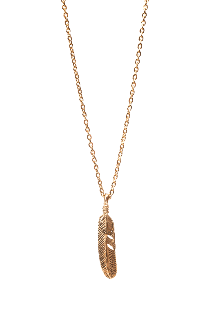 Gharb Co. Feather Necklace – Gold - Krave Urban Store