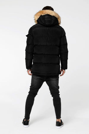 SikSilk Shiny Puff Parka – Black - Krave Urban Store