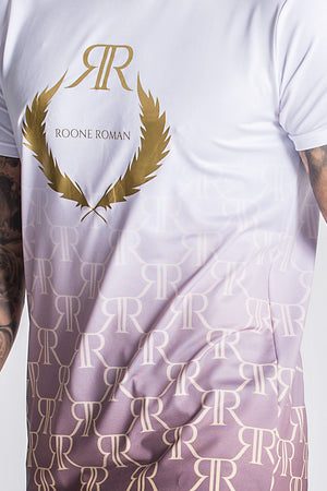 Roone Roman Faded Luxury RR Monogram Tee - White