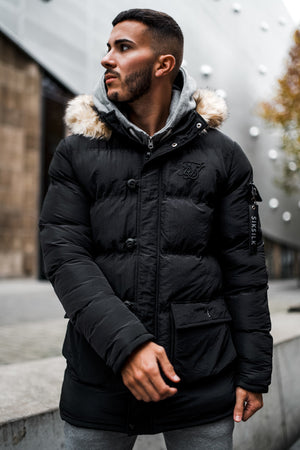 SikSilk Shiny Puff Parka – Black