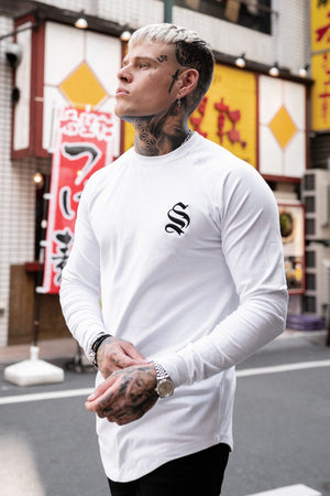 Sinners Attire Long Sleeve Core Tee - White - Last Size XS