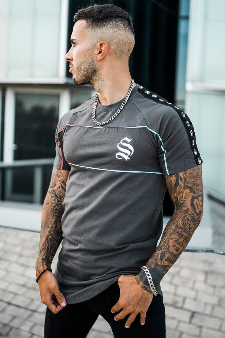 Sinners Attire Piping Panel Tee - Dark Grey