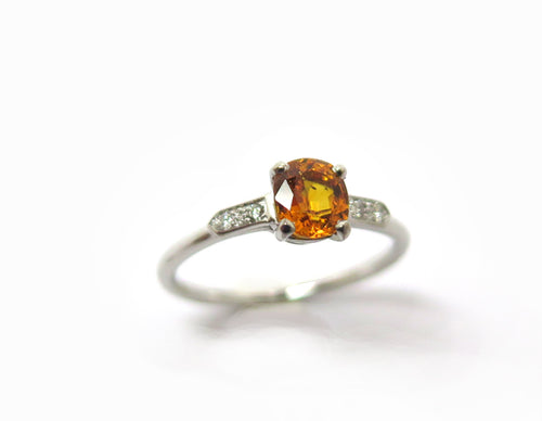 Bague Or blanc, Saphir orange et diamants