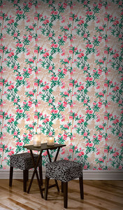 Painted-paper-peach-flowers-wallpaper-MyTailorsandCo