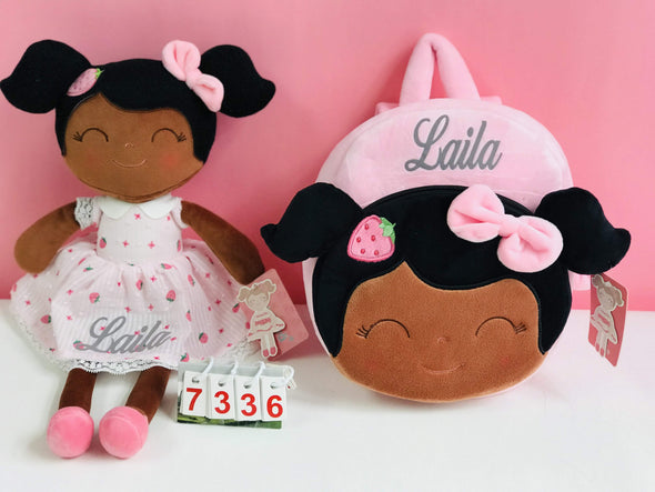 Personalized Leyadoll (Strawberry) with Gift Bag - 2 Skin Tones - Leya Doll