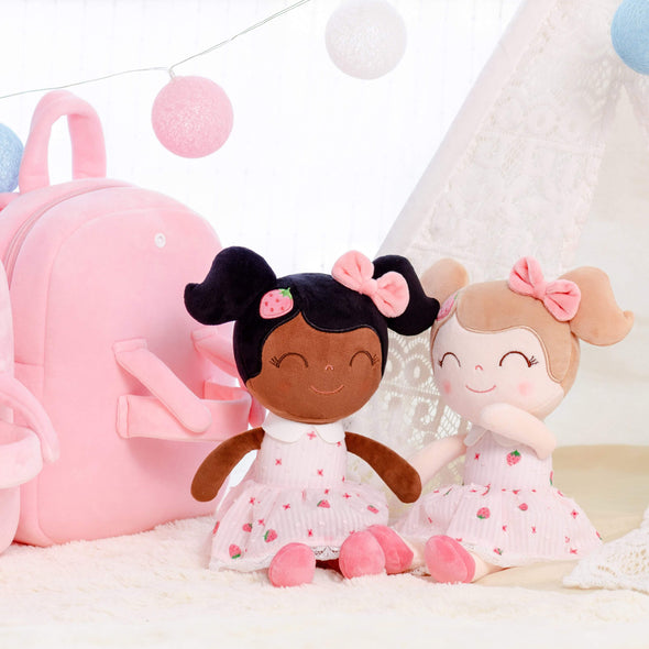Leyadoll Personalized Name Doll Backpack (Strawberry) Dark Skin Tone Black Baby Doll - Leya Doll