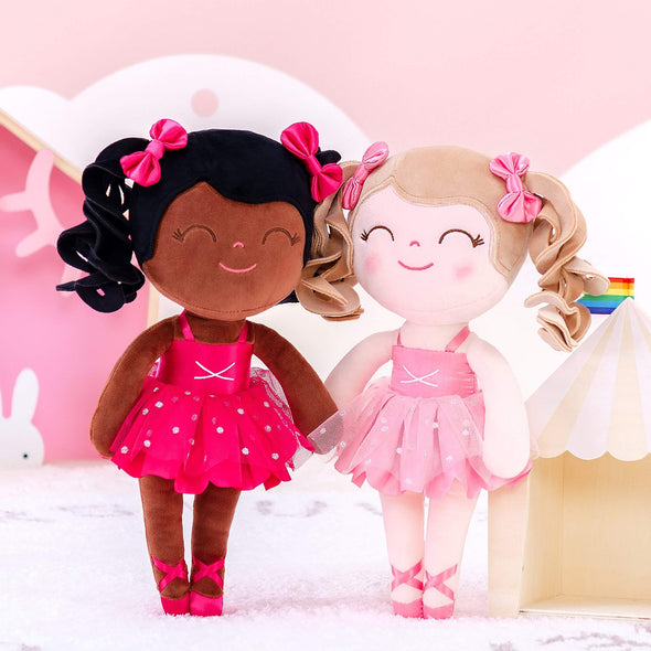 NEW - Personalized Ballerina Leyadoll with Gift Bag - 2 Skin Tones Curly Hair Ballet Girl - Leya Doll