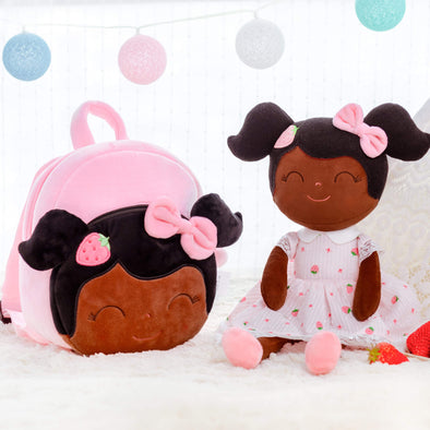 Leyadoll Personalized Name Doll + Backpack Bundle - Strawberry 2 Skin Tones Dark Skin Tone Black Baby Doll Backpack - Leya Doll