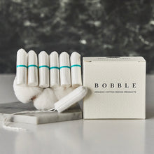 Load image into Gallery viewer, BOBBLE's 100% Organic Cotton Tampons. Naturally absorbent, non-allergenic for a pad you can trust. Uses sustainable materials in product and packaging. Subscribe to get a lifetime discount of 15%. Delivery nationwide in Malaysia. Free from toxins, chlorine, perfumes and dyes - for a safer experience with period products you can trust.