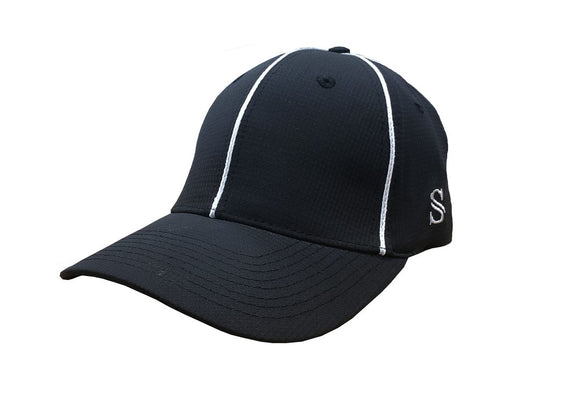 Smitty Performance Flex Fit Hat - Black with White Piping