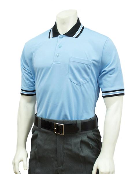 Performance Mesh Umpire Short Sleeve Shirt - Powder Blue with Black