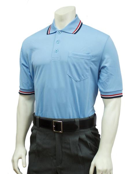 Performance Mesh Umpire Short Sleeve Shirt - Powder Blue with Red