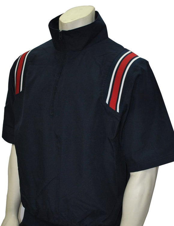 1/2 Sleeve Pullover Jacket w/ Half Zipper - Navy with Red