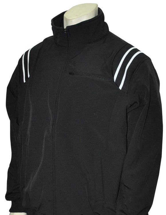 Long Sleeve Microfiber Shell Pullover Jacket - Black with White