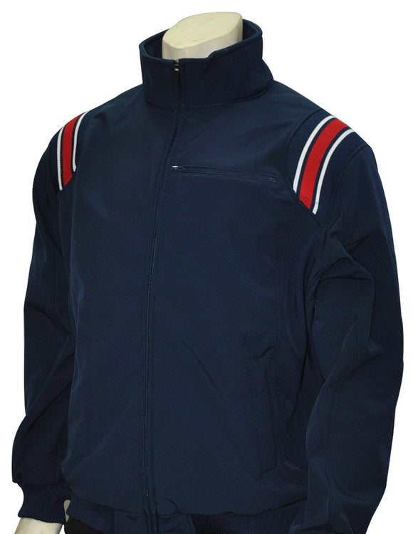 Long Sleeve Microfiber Shell Pullover Jacket - Navy with Red