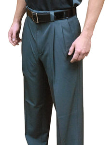 4-Way-Stretch Pleated Pants with Expander Waistband - Charcoal Grey