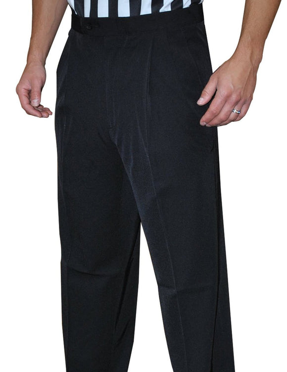 Men's 4 Way Stretch Black Pleated Pants with Slash Pockets