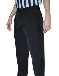 Women's 4-Way Stretch Black Pleated Pants with Slash Pockets