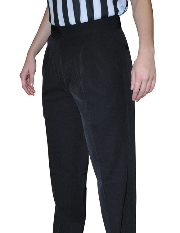 4 Way Stretch - Women's Black Pleated Pants with Slash Pockets
