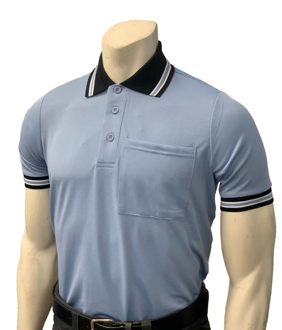 NEW Traditional Body-Flex Umpire Short Sleeve Shirt - Powder Blue/Black