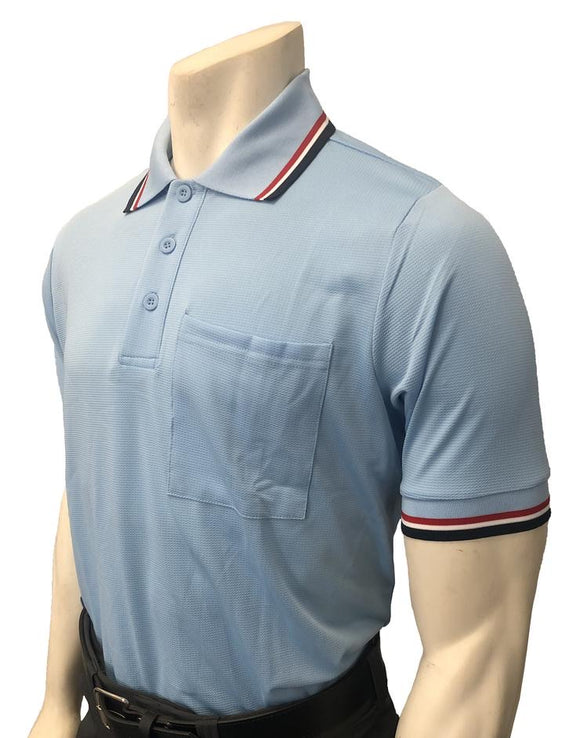 NEW Traditional Body-Flex Umpire Short Sleeve Shirt - Powder Blue/Red