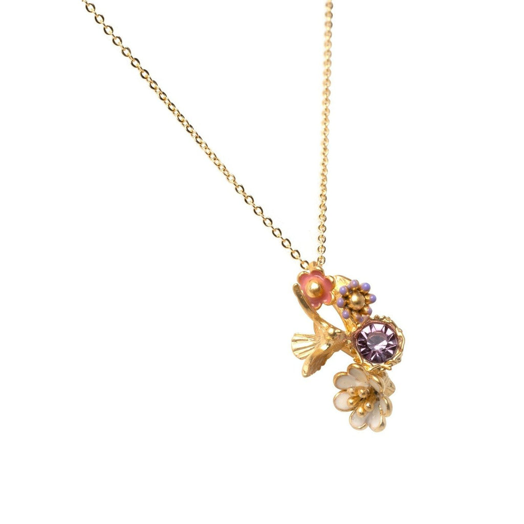 necklace pendant in yellow gold plating with flowers and crystal gems from Forest Jewelry singapore
