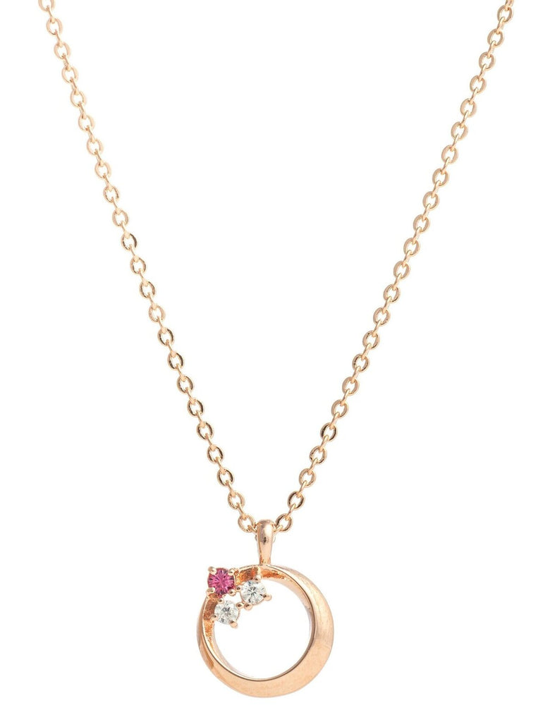 Necklace pendant in rose gold plating with rose crystals made with swarovski elements from Forest Jewelry singapore
