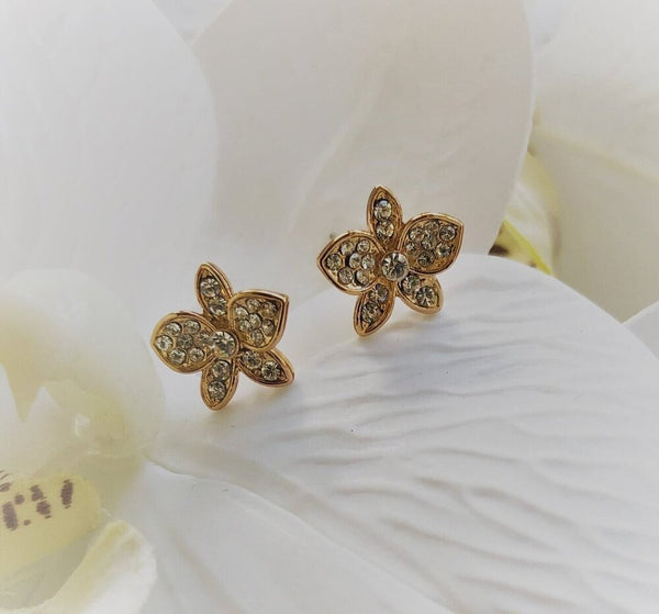 a pair of orchid rose gold plated stud earrings with crystals from forest jewelry singapore