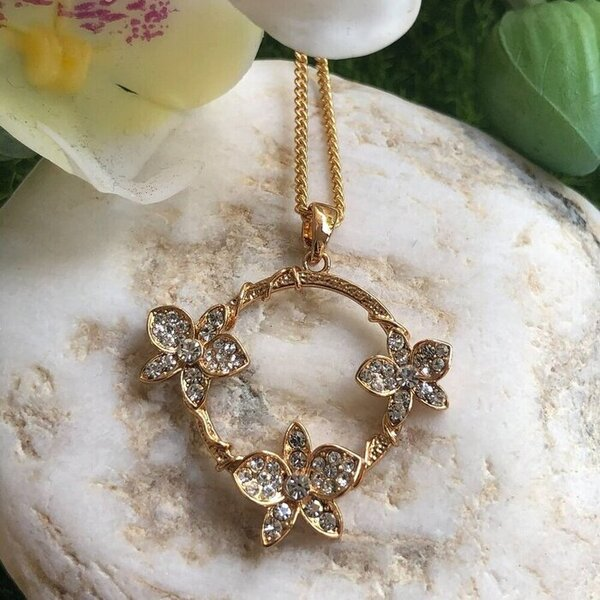 necklace pendant in rose gold plating with orchids and crystals on stone from forest jewelry singapore