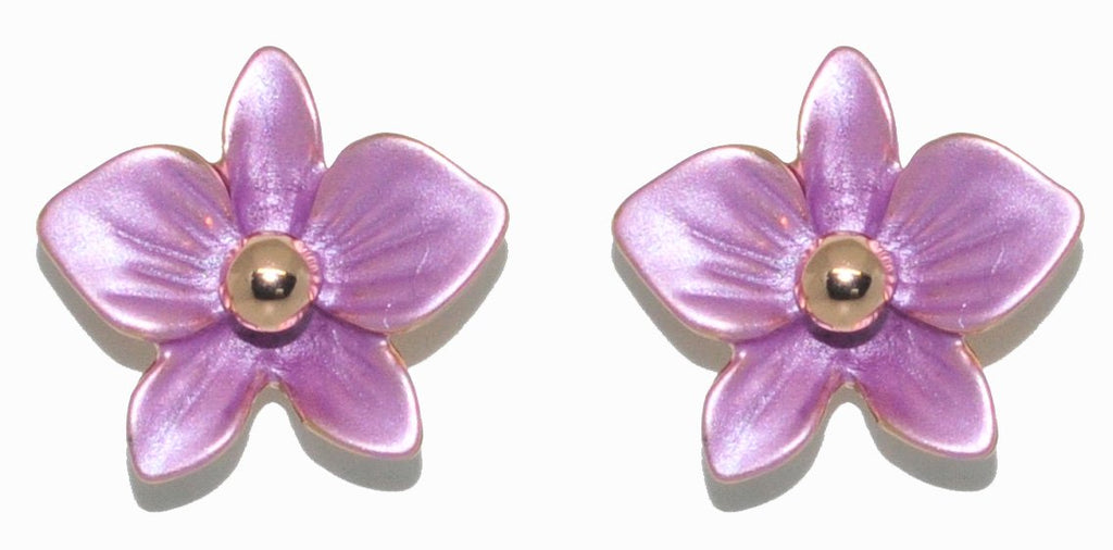 a pair of petite violet purple dendrobium orchid stud earrings in rose gold plating from forest jewelry singapore