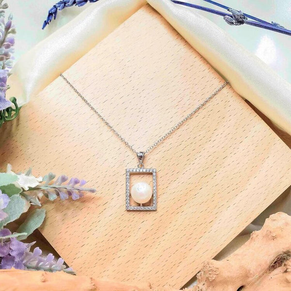 necklace pendant with round pearl in rectangle shape crystals in 925 sterling silver from forest jewelry