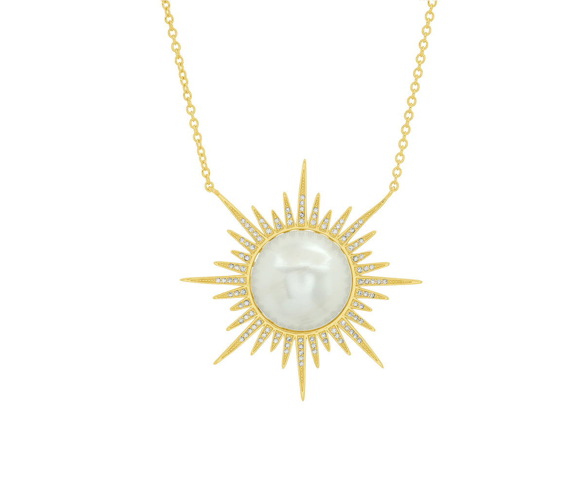 Sunburst Necklace in Yellow Gold Plated Silver