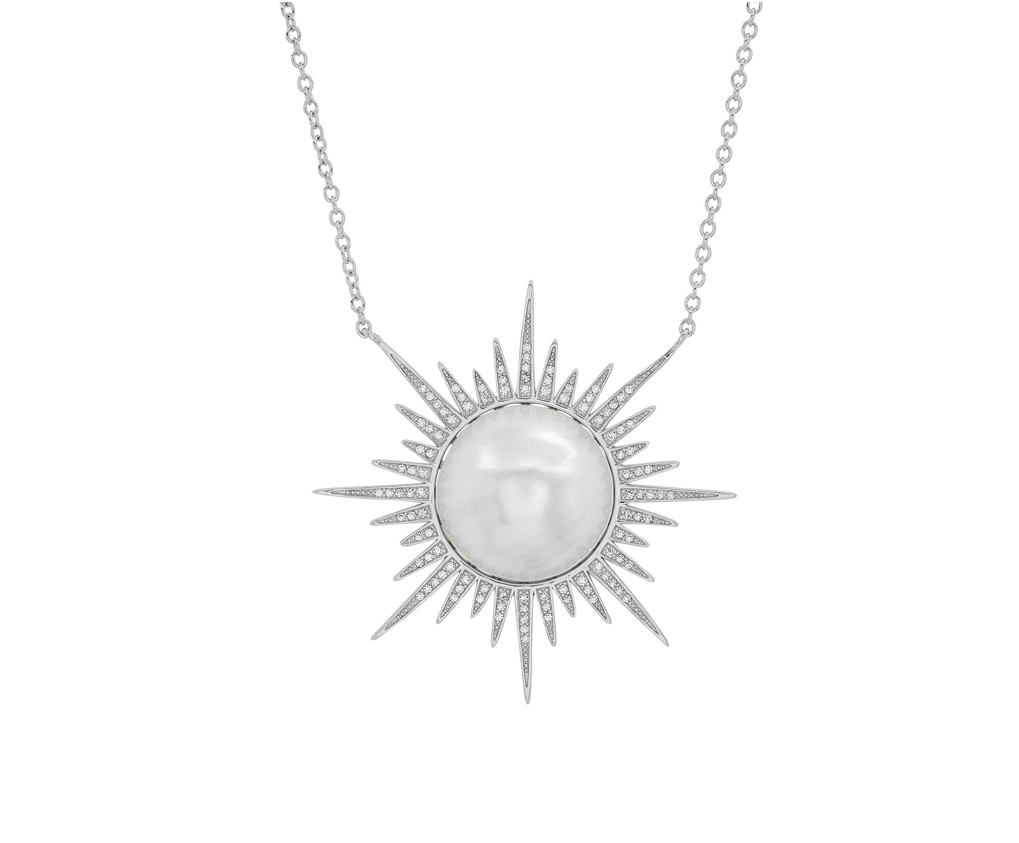 Sunburst Necklace in 18k White Gold