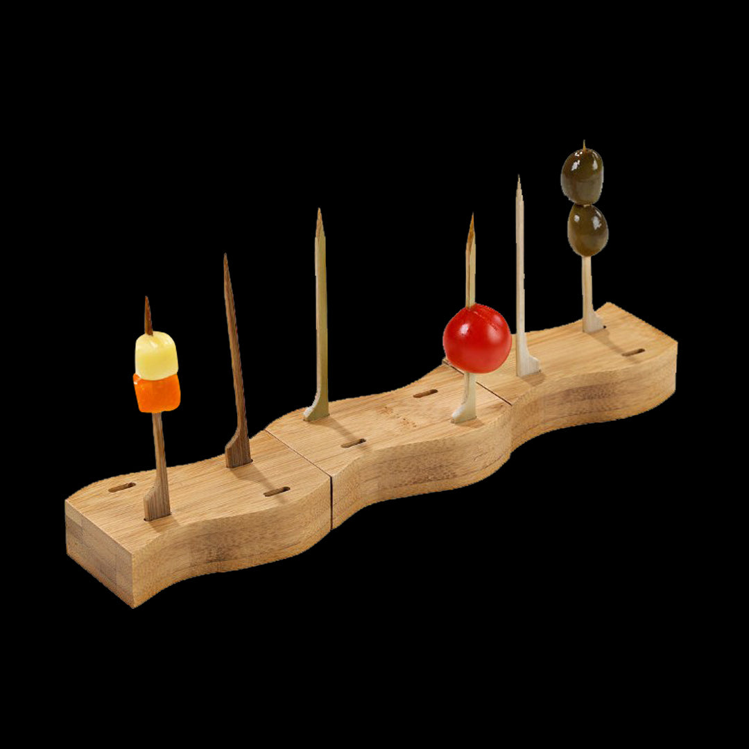 Mini Bamboo Pick Holder - 4 Skewer Holders+ 21 Skewers By PacknWood