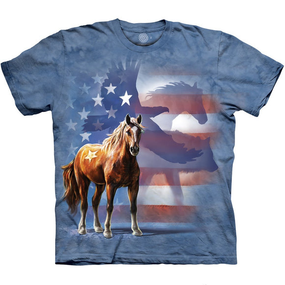 The Mountain Wild Star Flag - Horse & Eagle T-Shirt