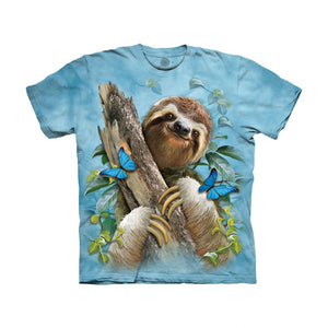 The Mountain Sloth & Butterflies - Kids' Unisex T-Shirt
