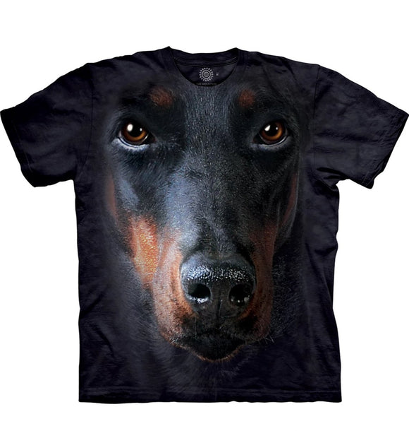 Doberman Face - The Mountain - 3D Dog T-Shirt