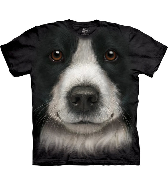 Border Collie Face - The Mountain - 3D Dog T-Shirt