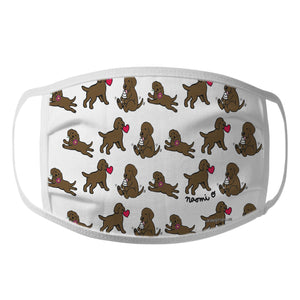 Animal Pride - Chocolate Lab Puppy Cartoon Pattern - Adult Unisex Face Mask