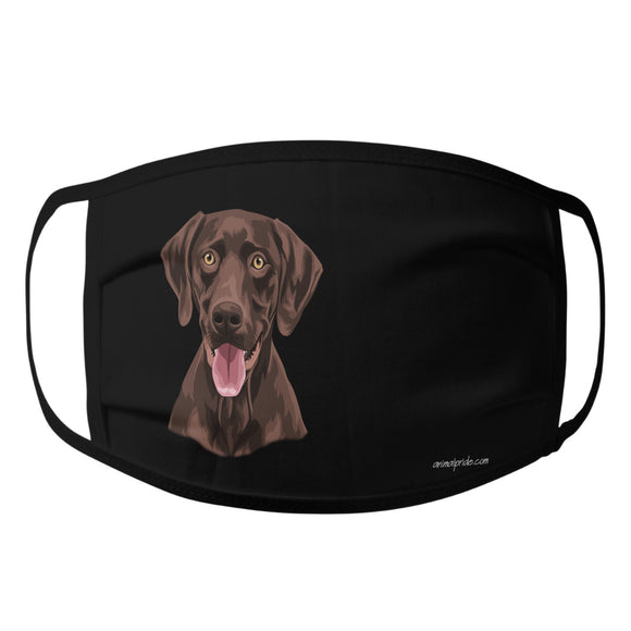 Animal Pride - Chocolate Lab Graphic Illustration - Adult Unisex Face Mask