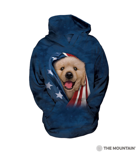 Patriotic Golden Retriever Puppy - The Mountain - Kids Dog Sweatshirt