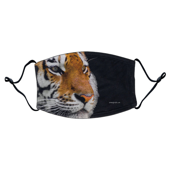 Tiger Photo Face Mask - Adjustable Ear Loops, Reusable & Washable, Cloth - Animal Pride