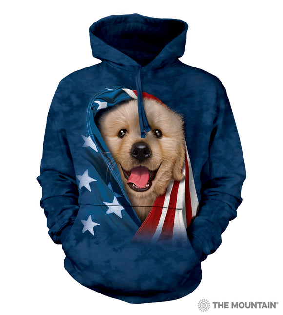 Patriotic Golden Retriever Pup - The Mountain - Hooded Dog Sweatshirt