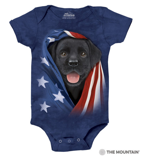 Patriotic Black Lab Pup - Baby Onesie