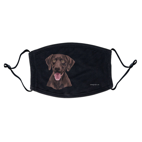 Chocolate Lab Graphic Illustration Face Mask - Adjustable Ear Loops, Reusable & Washable, Cloth - Animal Pride