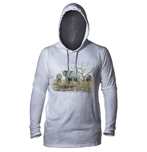The Mountain - Three African Elephants - Adult Unisex Lightweight Hoodie