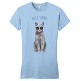 Hello Summer Cat - Women's Fitted T-Shirt - Animal Tee