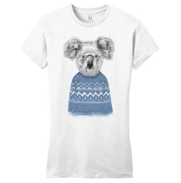 Ugly Christmas Sweater Koala - Women's Fitted T-Shirt - Animal Tee