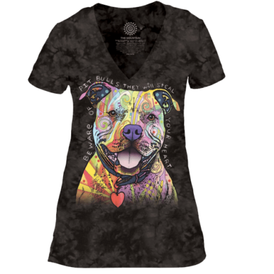 The Mountain Beware Of Pit Bulls - Women's Tri-Blend V-Neck T-Shirt