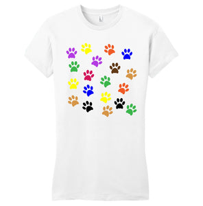 Colorful Paw Prints - Women's Fitted T-Shirt - Animal Tee